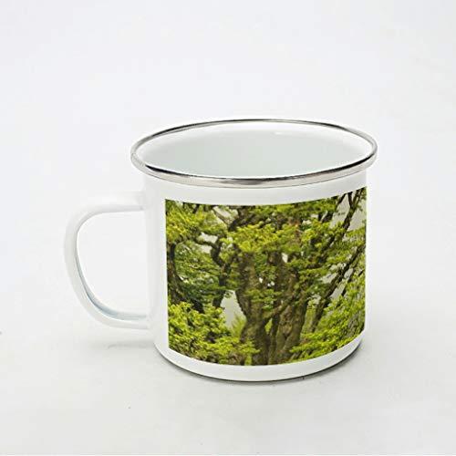 KittyliNO5 Taza esmaltada con diseño de árboles verdes, paisaje natural, portátil y ligera, para camping y picnic, color blanco, 350 ml