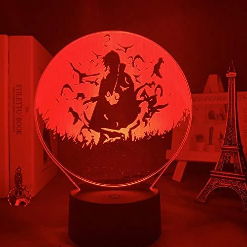 3D Led Night Light Anime Lámpara Naruto Sasuke E Itachi Uchiha Para Niños Decoración De Dormitorio Infantil Nightlight Rgb Colorful Manga Gift-Dj-Qds069_7 Colores Sin Control Remoto