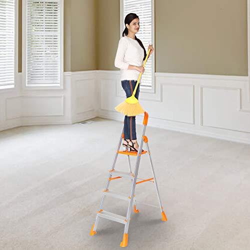 Happer Premium Foldable Aluminium Step Ladder, Clamber Pro, 4 Steps (Orange & Satin)