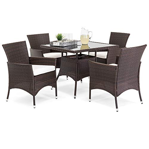 Best Choice Products 5-Piece Indoor Outdoor Wicker Patio Dining Set Furniture w/Square Glass Top Table, Umbrella Cutout, 4 Chairs - Brown