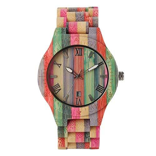 DZNOY Reloj de madera para hombre, reloj de madera de cuarzo, reloj de pulsera de madera, color dulce, reloj para mujer, reloj masculino, regalo de recuerdo, reloj de bolsillo (color para hombres)