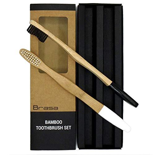 Mittelharte Bambus Zahnbürsten Individuelles Design nachhaltiges Produkte Ökologisch Leben 2er Pack Holz Handzahnbürsten Premium