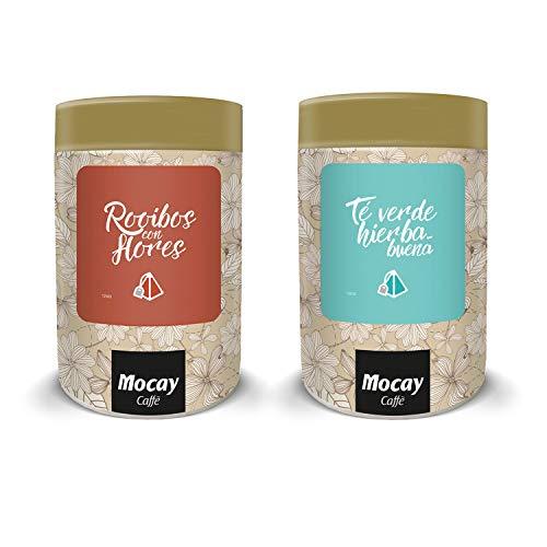 Mocay – Pack Mixto de Infusiones – 1 Lata de 40 Pirámides Sabor Rooibos con Flores – 1 Lata de 40 Pirámides Sabor Té Verde Hierbabuena – 80 Pirámides