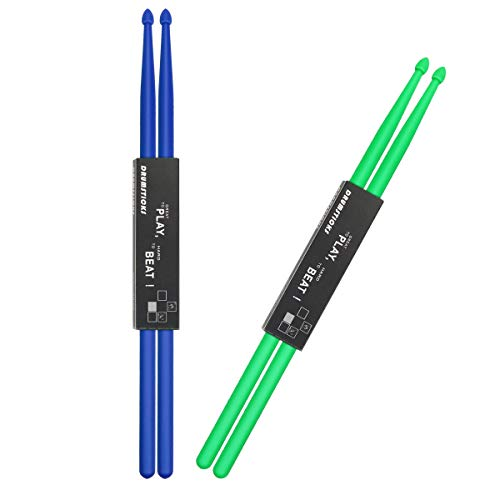 Fansunta 2pcs Nylon Drumsticks 5A 2 Pair For Drum Light Durable Plastic Exercise 2 Pair Drum Sticks For Kids Adults Musical Instrument Percussion Accessories (Blue and Green)