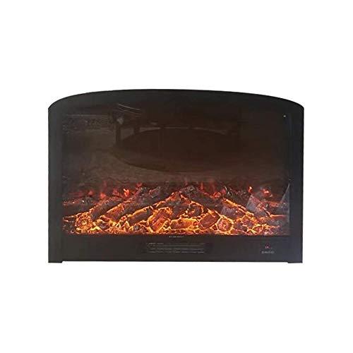 LKNJLL Embedded Elektro-Kamineinsatz Heater Glas Ansicht Einstellbare Log Flamme 1500W Überhitzungssicherheitsschutz, Schwarz