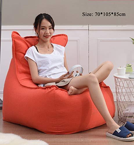 Gycdwjh Sitzsack, für Erwachsene, große hohe Rückenlehne, Gaming-Sessel mit Sofabezug, Baumwollstoff, reißfest, atmungsaktiv, für drinnen und draußen, rot, without filler