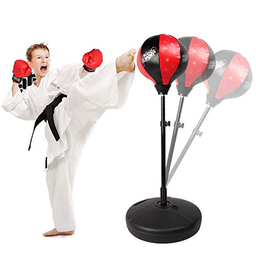 Sport Boxing Punching Set für Kinder, Safe Höhenverstellbare Kinder Punching Ball Stand Boxsack mit Handschuhen für das Boxen Heim- und Outdoor-Boxtraining, Rot