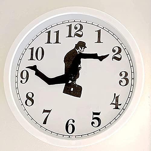 Reloj de Ministry of Silly Walks, reloj de pared creativo, obra de arte inspirada en la comedia británica, reloj de pared tonto, reloj de pared divertido, reloj de pared silencioso Sin tictac (blanco)