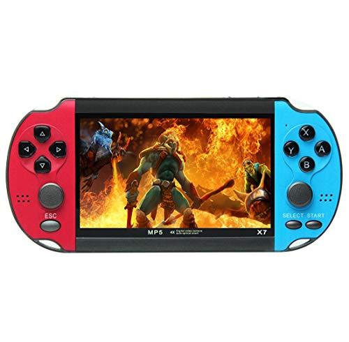 CZT 4,3 Zoll Coole Farbe Retro-Spielekonsole integrierte 3000-Spiele-Unterstützung mp3mp4-Spiele können wiederaufladbare Lithium-Batterie speichern/hinzufügen/löschen (Blau-Rot)