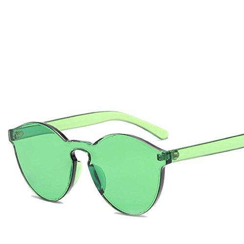 WeiMay Gafas de Sol sin fronteras, Gafas de Sol para Mujer, Tono Transparente, adecuadas para Temporada de Verano, bloquean la luz del Sol, Verde, 5.4 * 5.8 * 14.5cm