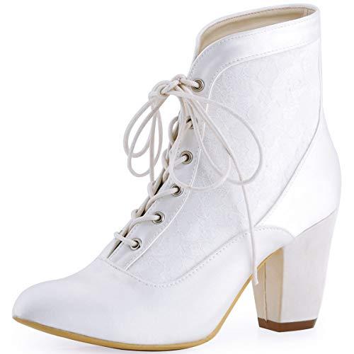 ElegantPark HC1528 Zapatos de Boda Mujer Botines de Novia Chunky Tacón Alto Punta Chiusa Satén Botas para Novia