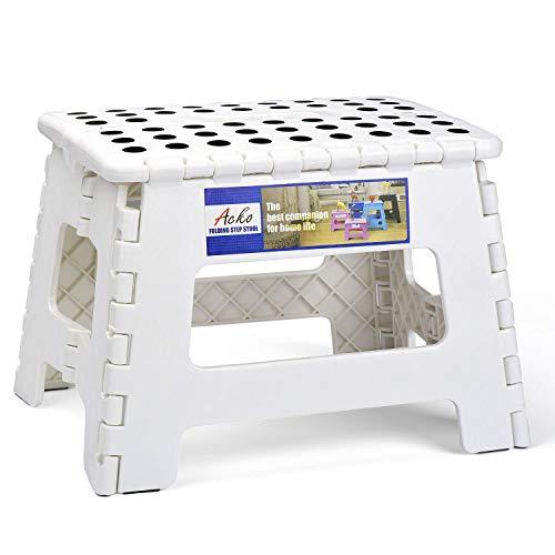Acko Folding Step Stool Portable Collapsible Plastic Step Stool,Foldable Step Stool,Non Slip Folding Stools for Kitchen Bathroom Bedroom (White)