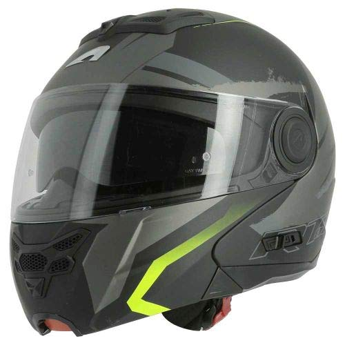 Astone Helmets - RT800 graphic exclusive ENERGY - Casque de moto modulable - Casque de moto 2 en 1 - Casque polyvalent route et ville - Casque en polycarbonate - matt black/yellow S