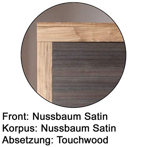 trendteam BM87259 Sideboard Wohnzimmerschrank Nussbaum-satin, Absetzungen dunkelbraun Touchwood Nachbildung, BxHxT 176x79x40 cm - 3