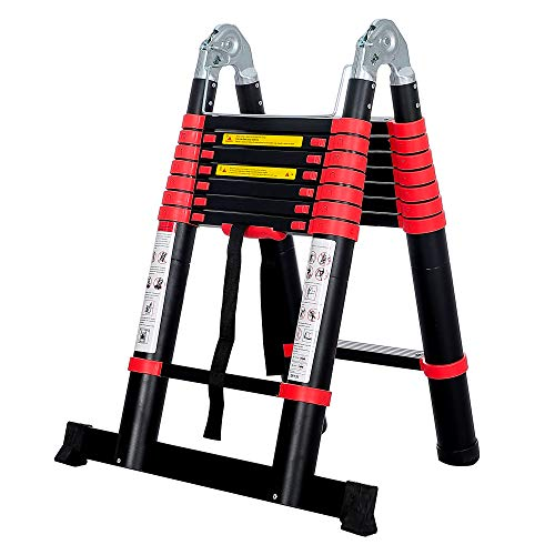 BEETRO 165ft Aluminum Telescoping Ladder A Type Portable Telescopic Extension Ladder for Outdoor Working Household Use and More 330lb Capacity More Durable and Safer with Balance Rod