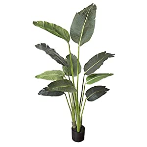 Silk Flower Arrangements One 5 foot Artificial Silk Bird of Paradise Palm Tree Potted Plant