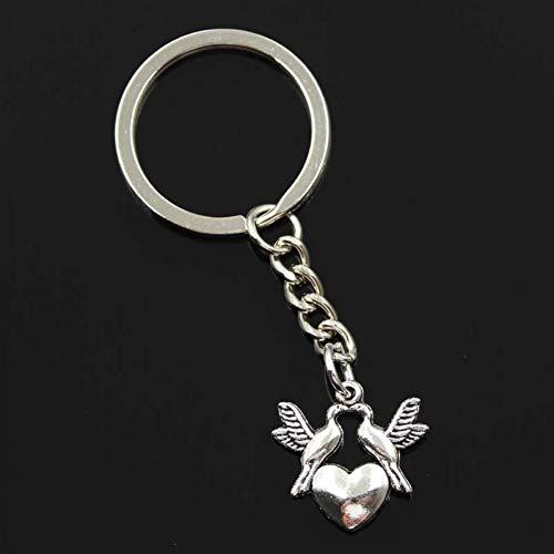 HXYKLM sleutelhanger voor heren, 30 mm, sleutelhanger van metaal, voor het knutselen van ten, vintage, kruk, duivenhart, 21 x 21 mm, zilverkleurig