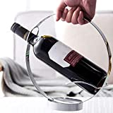 Botellero de Vino, Nuevo Círculo Hueco Moderno Soporte de vino de acero inoxidable Mesa de restaurante Colgante de vino Copa de vino Soporte de botella de rack Barra de barra accesorios