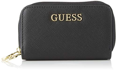 Guess Ariane Double Zip Mini Wallet Portamonete, Donna, Nero, Taglia Unica