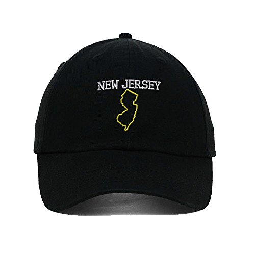 Speedy Pros New Jersey State Map Embroidery Twill Cotton 6 Panel Low Profile Hat Black