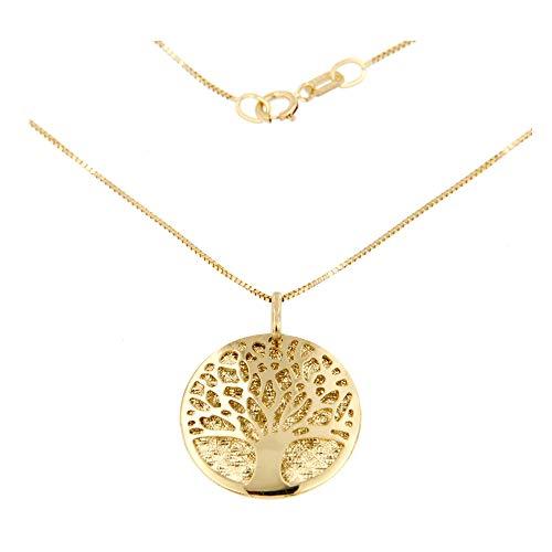 Lucchetta Schmuck - Damen Baum des Lebens Anhänger Halskette 585 Gelbgold, 14 Karat Gold Baum des Lebens Anhänger mit 42 cm Venezianischer-kette