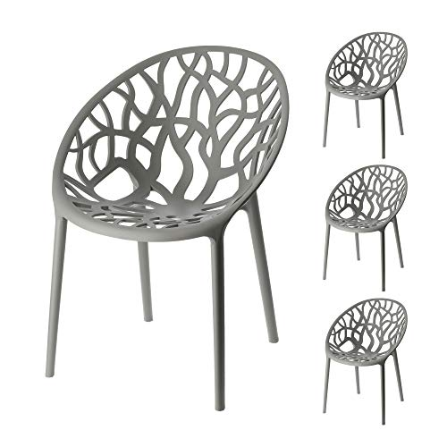 Stuhl Design Forest 4er Set Waldmotiv Baummotiv stapelbar Gartenstuhl aus Kunststoff (1 x 4er Set Stuhl Forest grau)