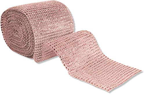 Fitz Design 24 Row,4.5 inches Wide 10 Yard Acrylic Rhinestone Diamond Ribbon wrap, DIY, Wedding, Homecoming, Prom, Events, Arts & Crafts and Special Occasions Rose Gold