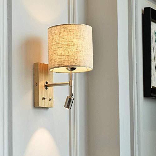 PLLP Lámpara de pared de cabecera/Pantalla de tela de lino/Aplique de pared de madera maciza original / 3W / Luz de lectura LED/Foco, 3000K / Ajustable/Edison / E27 / Con 2 interruptores de p