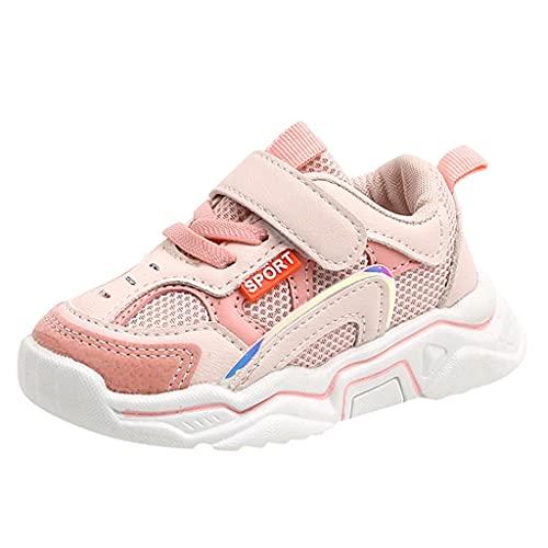Zapatillas infantiles para niña, 22 unidades, deportivas, unisex, con cierre de velcro, para exteriores, transpirables, antideslizantes., Rosa., 22