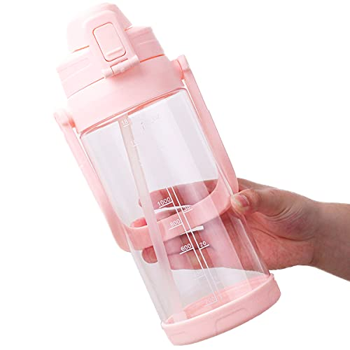 Delove 64 OZ Water Bottle with Straw and Carry Handle - Clear Large Fintess Sport Water Bottle - BPA Free Wide Mouth Water Jugs for Gym, Kitchen, Working (Light Pink)