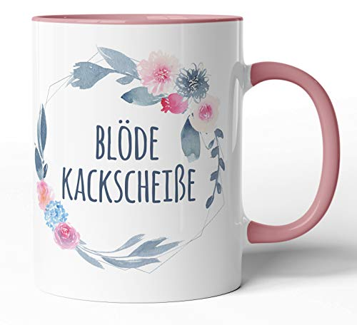 Kaffee-Tasse Schimpfwörter Beleidigung Ironie Geschenk-Tasse Geburtstag lustige Büro-Tasse - Spülmaschinenfest - beidseitig Bedruckt (Tasse, Blöde Kackscheiße)