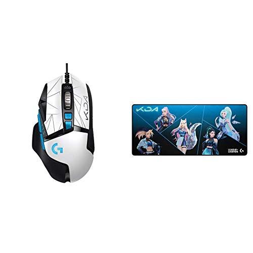 Logitech G502 Hero K/DA High Performance Gaming-Maus mit Kabel - Hero 25K-Sensor + G840 K/DA XL Gaming-Mauspad aus Stoff - 3 mm dünne, stabile Gummibasis