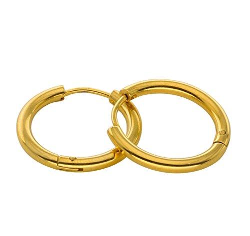 Beydodo Pendientes 1Par Pendientes Oro Pendientes Acero Quirúrgico Pendientes Hombre Mujer Hipoalergénico Pendientes Para Cartílago Pendientes de Aro 2.5x8MM