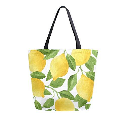 Hunihuni Canvas-Tragetasche, Aquarell, Zitronenbaum, groß, wiederverwendbar, Einkaufstasche, Schultertasche für Damen und Mädchen