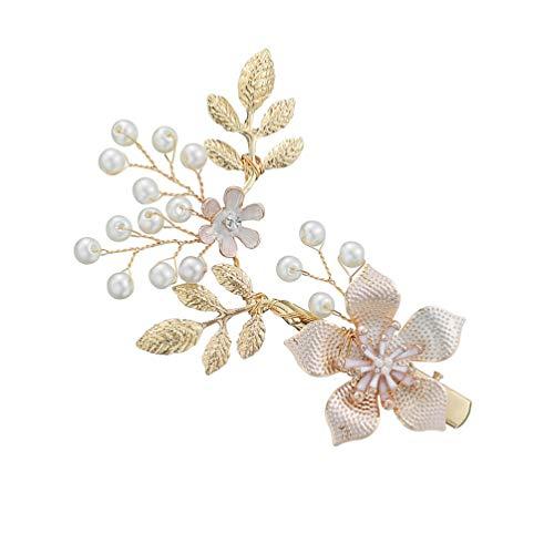 Minkissy Bruidspeld met bloemen, voor bruidsmeisjes, goud, bruidsmeisjes en bloemen, haarspeldjes