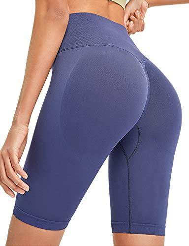 Kimmery Pajama Shorts for Women Scrunch Summer Sleep Lounge Stretchy Short Boardshorts Light Weight High Waist Yoga Pants Butt Lift Tights Navy Blue M