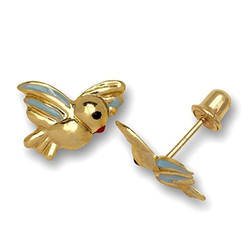14ct geel goud emaille schroef terug blauwe vogel oorbellen - maten 10x10mm