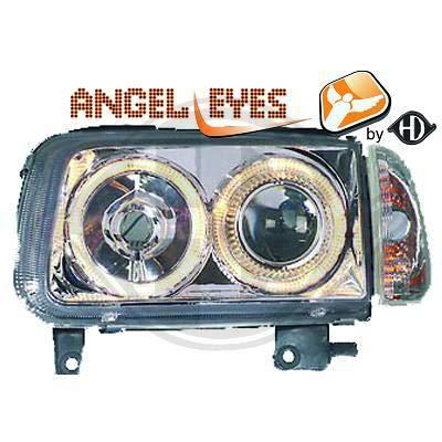2204380, 1 paar Angel Eyes koplampen chroom voor Polo 6N2 van 1999 tot 2001