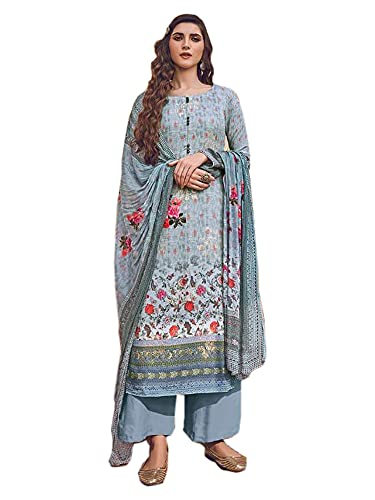 Ice Blue Indian Traje Festival Listo para usar Impreso Muselina Chinon Lentejuelas musulmanes Salwar kameez 6557, Como se muestra, XXXXL