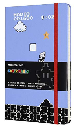 "Moleskine Limited Edition Super Mario Notebook, Hard Cover, Large (5"" x 8.25"") Ruled/Lined, 240 Pages"