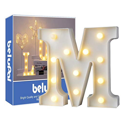 Letras Led Letras Luminosas Decorativas Letras Alphabet Light Luces De Espejo Del Alfabeto A-Z con Luces de LED para Decoración de DIY Wedding Party Dormitorio Decoración de Navidad- Letra M