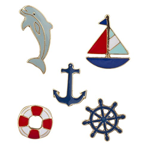 Lux Accessories Goldtone Nautical Shipwreck Sailor Anchor Brooch Pin Set (5pc)