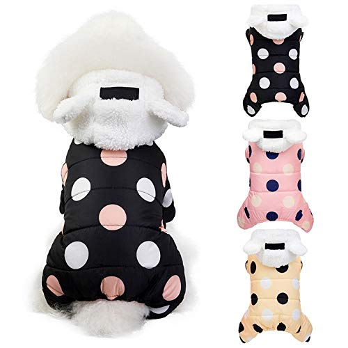 GBY Huisdierkleding voor katten en honden, wintermantels met dikke, gevoerde jassen, warme trui met vier poten, katoenen mantel met capuchon voor huisdieren, geschikt voor kleine honden en katten, Medium, geel