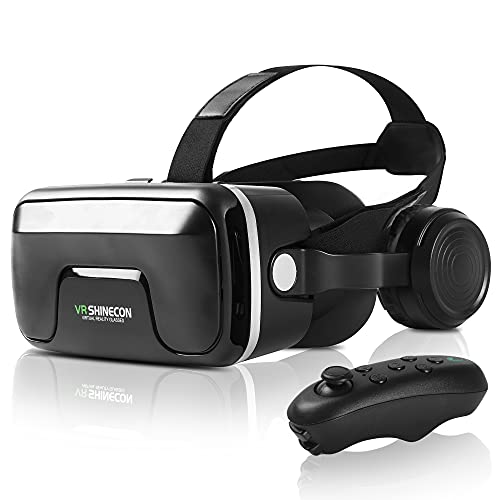 VR Headset with Remote Control, VR Glasses Suitable for iPhone and Android Phones, Anti-Blue-ray Eye Protection Virtual Reality Headset.VR headsets are The Best for Children and Adults.