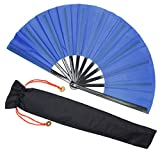 Zolee Large Rave Folding Hand Fan for Kitana Costume/Men/Women - Chinese Japanese Tai Chi Handheld Fan with Fabric Case - for EDM,Decorations, Dance, Club, Event, Party,Performance, Gift (Blue)