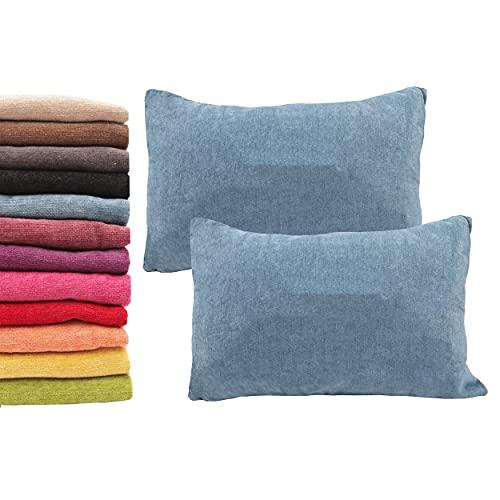 Meishida Set di 2 Fodere per Cuscini Morbido Tessuto in Ciniglia Federe con Cerniera Decorativa Nascosta per Divano e Letto (40 x 60 cm, Blu)