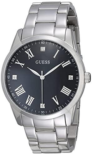 GUESS Relógio pulseira de aço inoxidável com mostrador preto de diamante genuíno + algarismos romanos. Cor: prateado (modelo U1194G1)