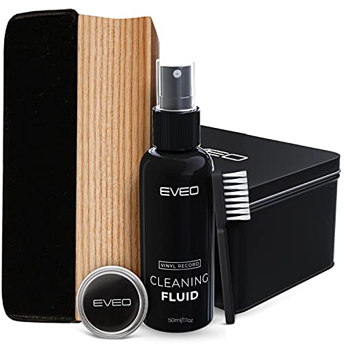 Record Cleaner - 4 in 1 Vinyl Record Cleaner Kit - Includes Ultra-Soft Velvet Brush, XL Cleaning Liquid, Brush Cleaner and Turntable Stylus Cleaning Gel - Vinyl Records Collection Cleaning Kits