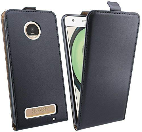 ENERGMiX Handytasche Flip Style kompatibel mit Lenovo Moto Z Play in Schwarz Klapptasche Tasche Schutz Hülle