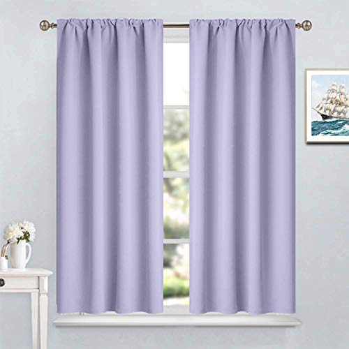 Yakamok Room Darkening Rod Pocket Window Drapes Lilac Blackout Curtains Thermal Insulated Curtain Panels for Bedroom, 38W x 45L, Set of 2